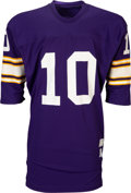 Football Collectibles:Uniforms, 1970's Fran Tarkenton Game Worn Minnesota Vikings Jersey - Rare Cold Weather Style! ...
