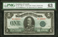 World Currency, Canada Dominion of Canada $1 2.7.1923 DC-25d PMG Choice Uncirculated 63.. ...