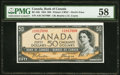 "World Currency, Canada Bank of Canada $50 1954 BC-34b ""Devil's Face"" PMG Choice About Unc 58.. ..."