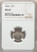 Three Cent Nickels: , 1866 3CN MS66 NGC. NGC Census: (52/2). PCGS Population: (31/4). CDN: $1,050 Whsle. Bid for NGC/PCGS MS66. Mintage 4,801,000...