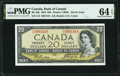 """World Currency, Canada Bank of Canada $20 1954 BC-33b """"Devil's Face"""" PMG Choice Uncirculated 64 EPQ.. ..."""