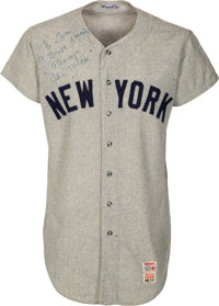 1968 Mickey Mantle Game Worn & Signed New York Yankees Jersey Attributed to 535th Home Run, MEARS A10