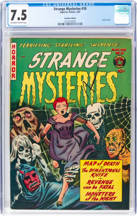 Strange Mysteries #10 (Superior Comics, 1953) CGC VF- 7.5 Off-white to white pages....
