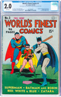 Golden Age (1938-1955):Superhero, World's Finest Comics #3 (DC, 1941) CGC GD 2.0 White pages....