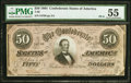 Confederate Notes:1864 Issues, T66 $50 1864 PF-6 Cr. UNL PMG About Uncirculated 55.. ...