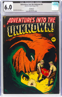 Adventures Into The Unknown #4 Northford Pedigree (ACG, 1949) CGC FN 6.0 Cream to off-white pages