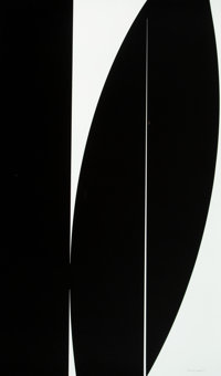 Johnny Abrahams (b. 1979) Untitled, 2020 Serigraph in black on Coventry Rag paper 40 x 24 inches (101.6 x 61 cm) (she