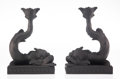Carvings, A Pair of Wedgwood Basalt Dolphin-Form Candlesticks, mid-20th century. Marks to each: WEDGWOOD, A, 72, MADE IN ENGLAND. ... (Total: 2 Items)