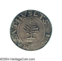 1652 SHILNG Pine Tree Shilling, Large Planchet XF40 PCGS. Noe-1, R.2. A small pellet or dot is located on each side of t...