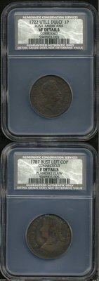 "1722 PENNY Rosa Americana Penny, UTILE VF20 Details, Corroded, NCS, Breen-115, ""Rare,"" a dark and granular exa..."