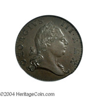 1773 1/2P Virginia Halfpenny, No Period MS65 Brown PCGS. Breen-181, Newman-3F. Seven Harpstrings. In colonial parlance...