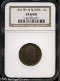 Proof Classic Head Half Cents: , 1836 1/2 C First Restrike, Reverse of 1836 PR66 Brown NGC.