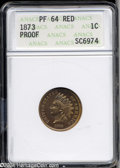 Proof Indian Cents: , 1873 1C Closed 3 PR64 Red ANACS. This is a crisp, problem-...