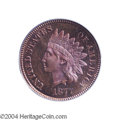 Proof Indian Cents: , 1877 1C PR65 Red and Brown PCGS. Lovely ruby-red, orange, ...