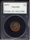 Proof Indian Cents: , 1893 1C PR65 Red PCGS. Seemingly high end for the grade ...