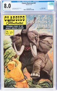 Classics Illustrated #97 King Solomon's Mines - First Edition (Gilberton, 1952) CGC VF 8.0 Off-white to white pages