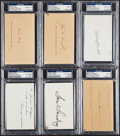 Football Collectibles:Others, Football Coaching Legends Signed Index Cards & Postcards, Lot of 6....