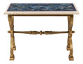 Furniture, A Baltic Charles X-Style Gilt Bronze Trestle Table with Lapis Inlaid Top. 30-1/2 x 43 x 25 inches (77.5 x 109.2 x 63.5 cm). ... (Total: 2 Items)