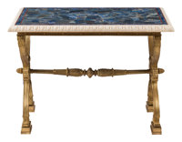 A Baltic Charles X-Style Gilt Bronze Trestle Table with Lapis Inlaid Top 30-1/2 x 43 x 25 inches (77.5 x 109.2 x 6
