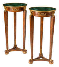 A Pair of French Empire-Style Gilt Bronze Mounted Tables with Malachite Tops 34 x 16-1/2 inches (86.4 x 41.9 cm) (