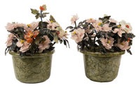 A Pair of Chinese Jade Trees 19 x 17 x 16 inches (48.3 x 43.2 x 40.6 cm) (each)