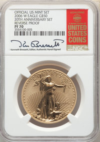 2006-W $50 One-Ounce Gold Eagle, 20th Anniversary, Reverse Proof, PR70 NGC. NGC Census: (3099). PCGS Population: (564)...