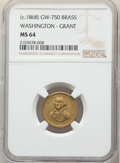 (circa-1868) Washington - Grant Medalet, GW-750, Baker-254 A, MS64 NGC. Brass