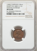 (1868) Horatio Seymour Campaign Medalet, Dewitt-HS-1868-12, MS64 Red and Brown NGC. Ex: Schwartz Collection