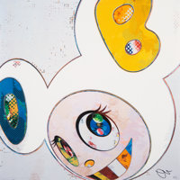 Takashi Murakami (b. 1962) And Then x6 (White: The Superflat Method Blue and Yellow Ears), 2013 Offs