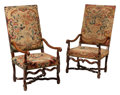 Furniture, A Pair of French Louis XIII-Style Walnut Tapestry Upholstered Armchairs, 18th century . 47-1/2 x 24 x 27 inches (120.7 x 61.... (Total: 2 Items)