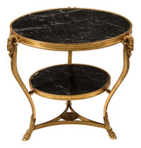 A Neoclassical Gilt Bronze and Marble Ram's Head Two-Tier Table 28-1/2 x 31 inches (72.4 x 78.7 cm)