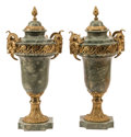 Furniture, A Pair of French Gilt Bronze Mounted Marble Cassolettes, 19th century . 22 x 10 x 8 inches (55.9 x 25.4 x 20.3 cm) (each). ... (Total: 2 Items)