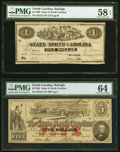 Raleigh, NC- State of North Carolina $1; $3 Jan. 1, 1863 Cr. 132; Cr. 123 PMG Graded Choice About Unc 58 EPQ; Choi