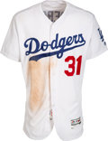 Baseball Collectibles:Uniforms, 2017 Joc Pederson Game Worn & Unwashed Los Angeles Dodgers Jersey Used 6-24 vs. Rockies for Home Run, MLB Authentic. ...