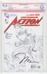 Action Comics #1 Fourth Printing - Verified Signature - Jim Lee (DC, 2012) CBCS NM+ 9.6 White pages