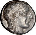 Ancients:Greek, Ancients: ATTICA. Athens. Ca. 455-440 BC. AR tetradrachm (25mm, 17.14 gm, 10h). NGC Choice XF 5/5 - 4/5....