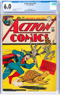 Action Comics #75 (DC, 1944) CGC FN 6.0 Off-white to white pages