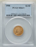 Indian Quarter Eagles: , 1908 $2 1/2 MS63+ PCGS. PCGS Population: (1716/2189 and 19/132+). NGC Census: (1513/1749 and 7/44+). CDN: $575 Whsle. Bid f...