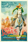 """Movie Posters:Western, Forbidden Trail (Columbia, 1932). Fine+ on Linen. One Sheet (27.5"""" X 41"""") & Glass Slide (4"""" X 3.25"""").. ... (Total: 2 Items)"""