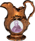 Political:3D & Other Display (pre-1896), William Henry Harrison: Copper Luster Pitcher....
