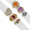 Estate Jewelry:Rings, Diamond, Multi-Stone, Cultured Pearl, Gold Rings. ... (Total: 6 Items)