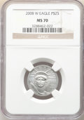 Modern Bullion Coins, 2008-W $25 Quarter-Ounce Platinum Eagle, Burnished, MS70 NGC. NGC Census: (638). PCGS Population: (280). CDN: $1,200 Whsle....