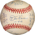 Baseball Collectibles:Balls, 1990's Perfect Game Winners Multi-Signed Baseball - Signed by 12 with Dates Inscribed. ...