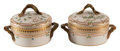 Ceramics & Porcelain, A Pair of Small Royal Copenhagen Flora Danica Pattern Two-Handled Covered Serving Bowls, Denmark, 20th century. ... (Total: 2 Items)