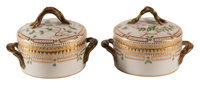 A Pair of Small Royal Copenhagen Flora Danica Pattern Two-Handled Covered Serving Bowls