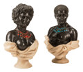 Carvings, A Pair of Italian Jeweled, Onyx and Black Marble Busts. 30 x 22 x 10 inches (76.2 x 55.9 x 25.4 cm) (each). ... (Total: 2 Items)