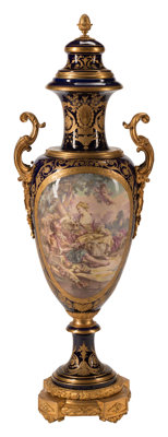 A French Sèvres-Style Gilt Bronze Mounted Porcelain Covered Urn, 19th century Marks: (crossed L's in underglaze b...