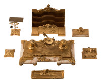 A Seven-Piece French Gilt Bronze and Marble Desk Set, 19th century Marks: A MARIONNET 11 x 11-1/2 x