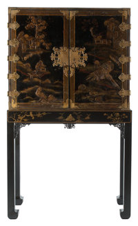 A Japanese Lacquered Cabinet on Stand, 19th century 67 x 39 x 19 inches (170.2 x 99.1 x 48.3 cm)