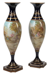 A Pair of Monumental French Sèvres-Style Bronze Mounted Porcelain Vases, circa 1900 Signed: Jeanne 5